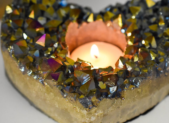 Amethyst Rainbow Heart Candle Holders