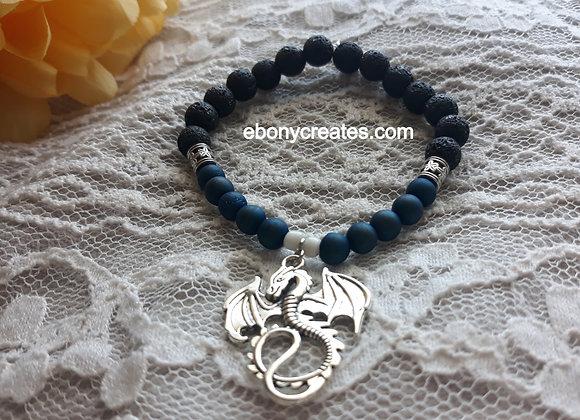 Blue Druzy Agate and Lava Stone Aromatherapy Bracelet