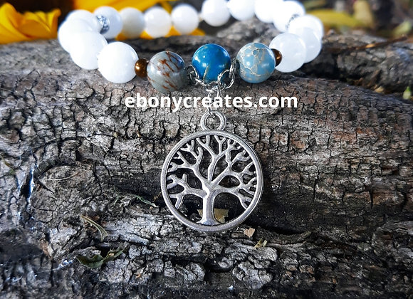 Moonstone and Blue Imperial Jasper Bracelet with Tree of Life Charm