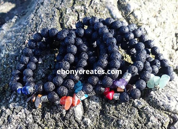 Lava Stone Aromatherapy Bracelet With Chakra Crystals
