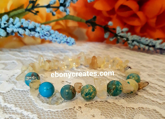 Blue Imperial Jasper and Citrine Bracelet