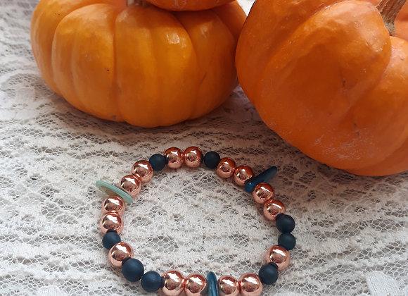 Rose Gold Hematite and Druzy Bracelet