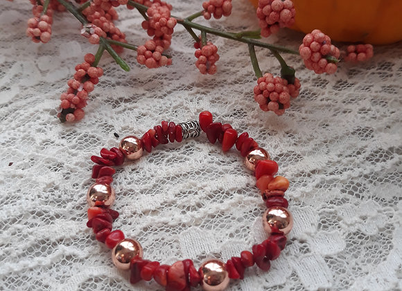 Red Coral and Rose Gold Hematite Bracelet