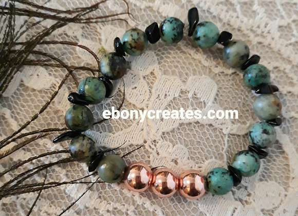 African Turquoise and Rose Gold Hematite
