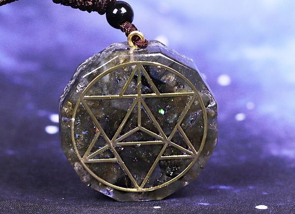 Orgonite Energy Crystal Natural Labradorite Reiki Pendant Necklace Chakra Stone