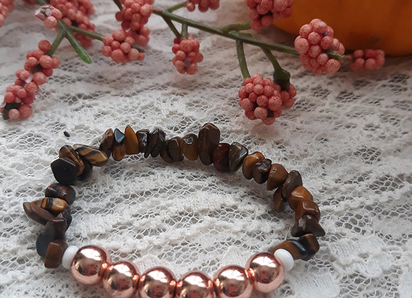 Tigers Eye and Rose Gold Hematite Bracelet