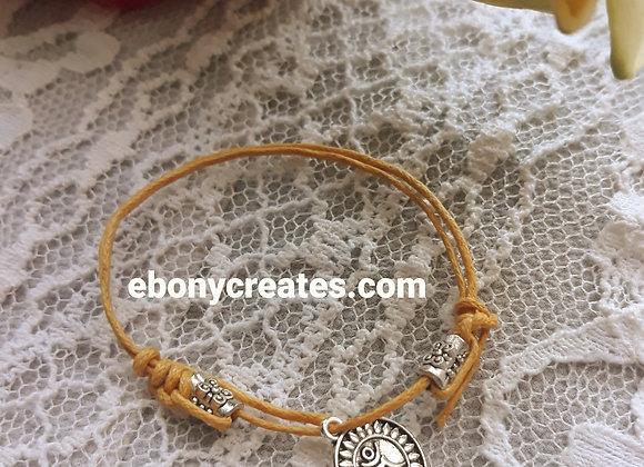 Adjustable Cord Bracelet with Charm