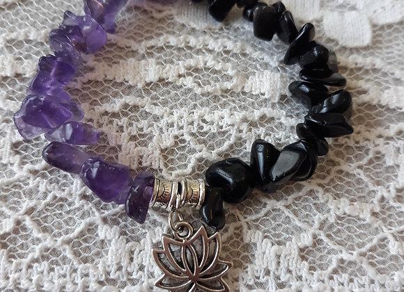 Half and Half Amethyst and Black Obsidian Bracelet
