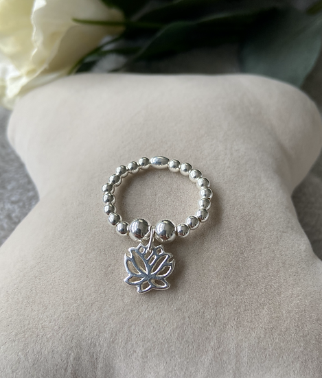 Lotus Flower Sterling Silver Ring