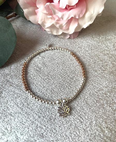 Silver and Rose Gold Lotus Bracelet