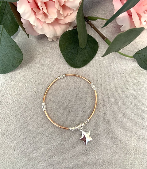 Rose Gold and Silver Star Noodle Bracelet