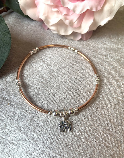 Elephant Rose Gold and Silver Small Noodle Bracelet