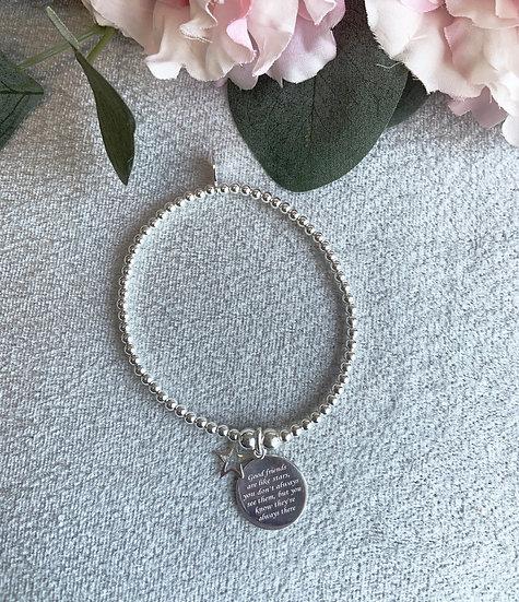 Friends Sterling Silver Star Bracelet