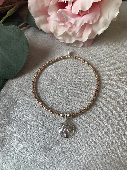 Rose Gold and Silver Tree of Life Bracelet