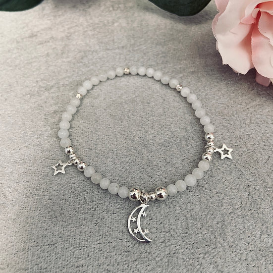 Moonstone & Sterling Silver Moon Bracelet
