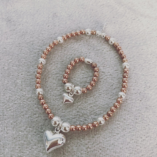 Rose Gold and Silver Solid Heart Bracelet and Ring Set