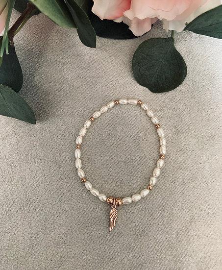Rose Gold Freshwater Pearl Angel Wing Bracelet