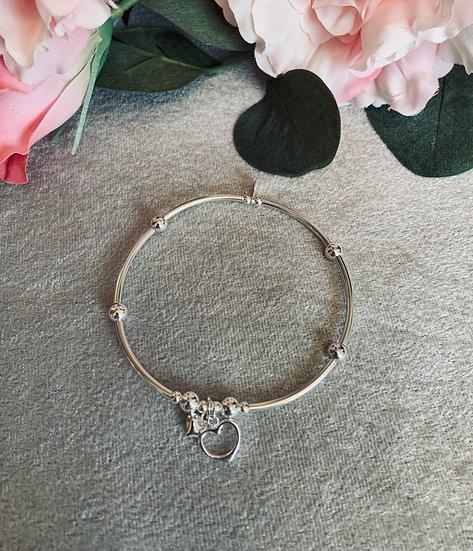 Sterling Silver Small Noodle Open Heart Bracelet