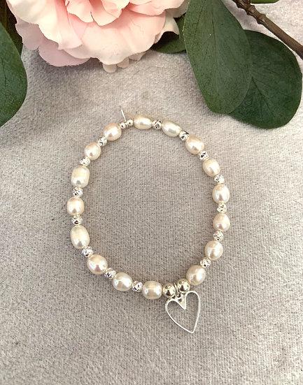 Freshwater Pearl & Silver Large Heart Bracelet