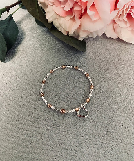 Silver and Rose Gold Infinity Heart Bracelet