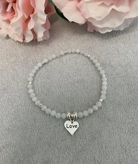Moonstone and Sterling Silver Love Heart Bracelet