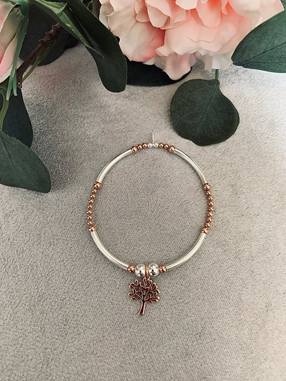 Sterling Silver & Rose Gold Large Noodle Tree Bracelet