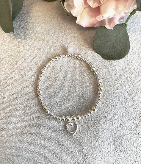 Sterling Silver Small Open Heart Mixed Beads Bracelet