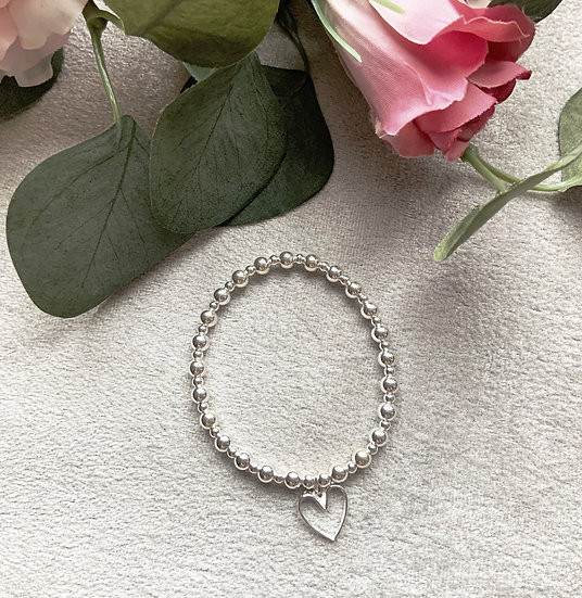 Sterling Silver Large Open Heart Bracelet