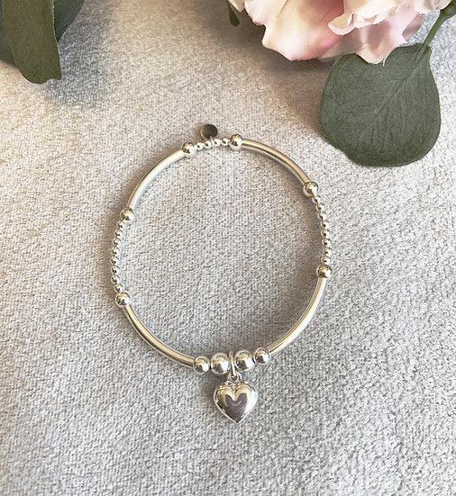 Sterling Silver Noodle Solid Heart Bracelet