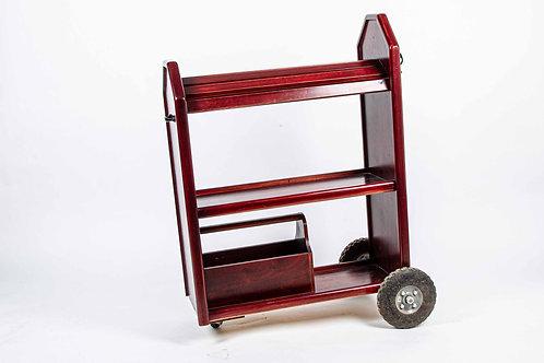 carrito especial para sillas/albardones en madera con cajon y ruedas