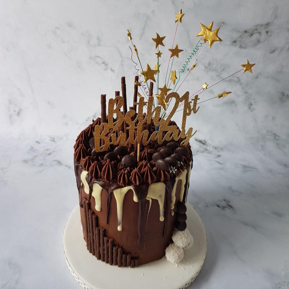 Chocolate Drip Cake - 21st Birthday