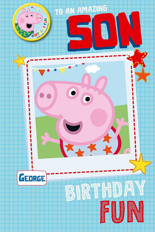 Son Peppa Pig Birthday Card with Badge