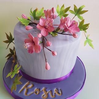 Sugar Cherry Blossom & Maple Leaf Cake