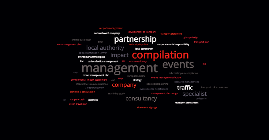 wordcloud - info graphic of services SM.