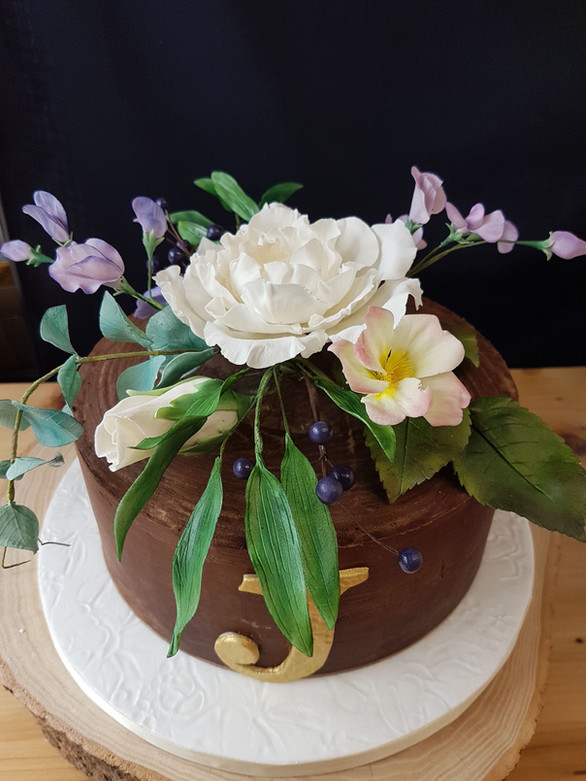Chocolate Ganache Cake with Sugar Flowers