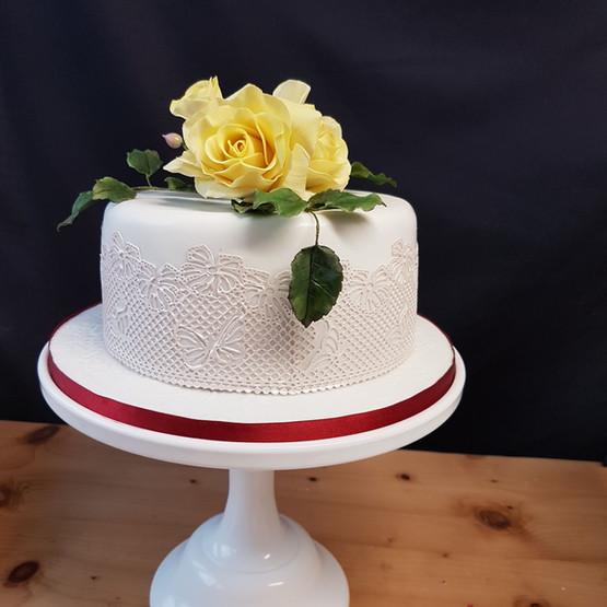 Chocolate Cake with Yellow Sugar Flower