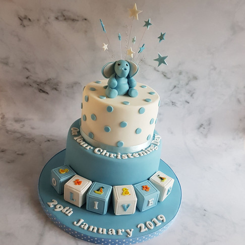 Blue Christening Cake
