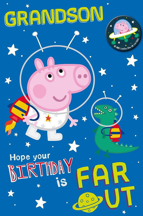Grandson Peppa Pig Card with Badge