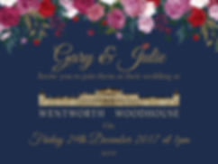 Wedding invite blue and gold