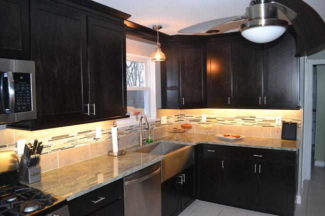 Kitchen renovation tile backsplash custom cabinetry