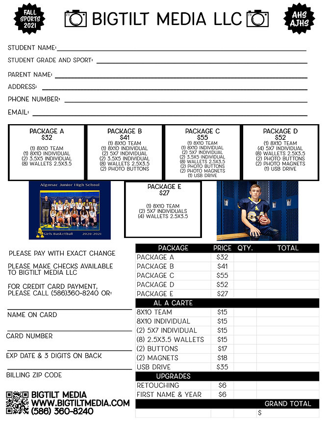 sports order form, order form, sports pictures