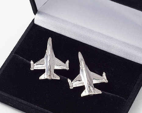F16 Fighting Falcon Cufflinks Nickel Plated