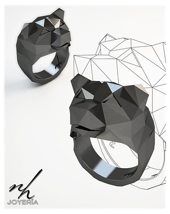 Bear Facet .925 - Black Rhodium