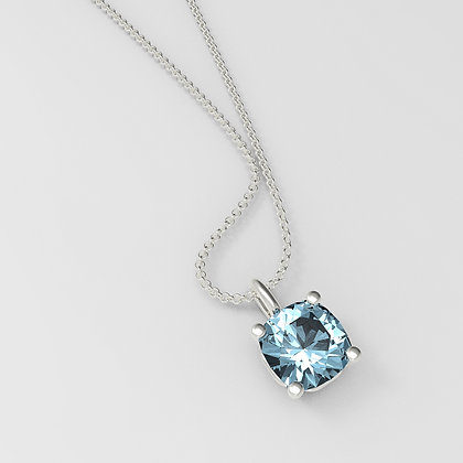 Cushion Square 14k - BlueTopaz- Dije