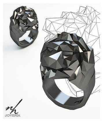 Lion Facet .925 - Black Rhodium