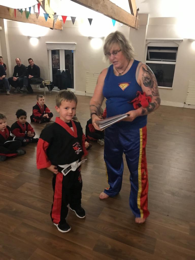 Guest Sensei Simone Hopkins working with the Red Dragons