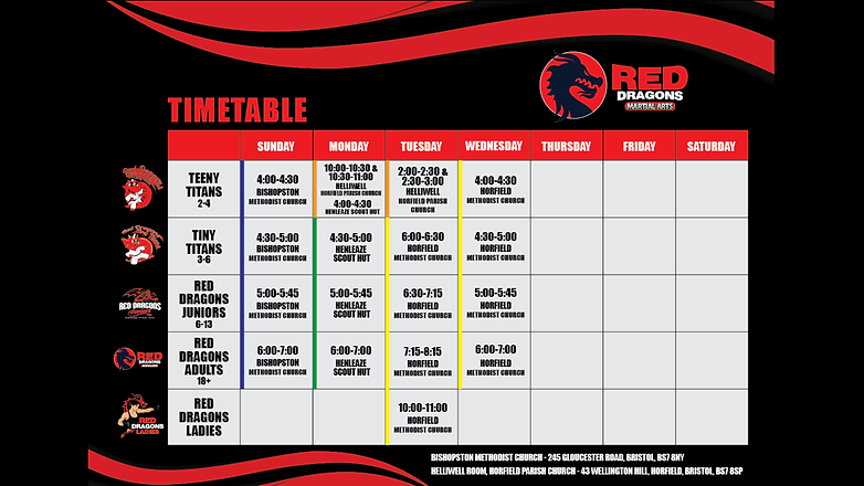 Red Dragons Martial Arts Timetable