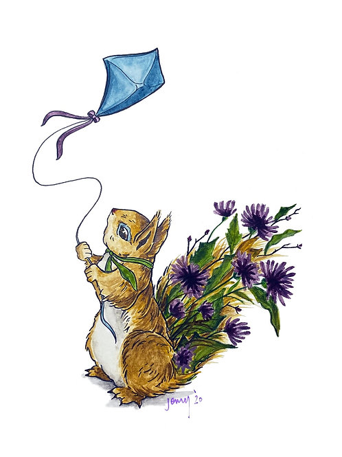 Kite Flying Squirrel | watercolor animals