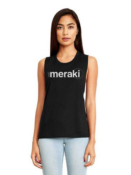 ladies WeMeraki Festival Muscle Tank - Black
