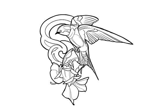 Bird Flower - tattoo deposit